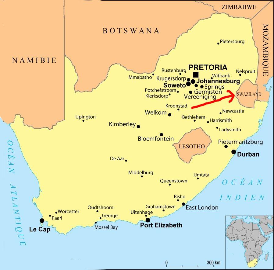 Afrique-du-sud-Namibie-Botswana-Zimbawe-Mozambique-Swazilande-Lesotho-carte-du-sud-de-l-Afrique